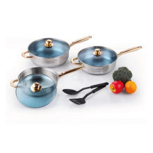 Stainless Steel Cookware Set with Nylon Kitchen Tools