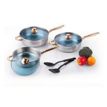 Набор посуды из нержавеющей стали с нейлоновыми кухонными инструментами