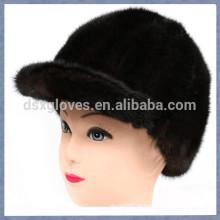 Neue Lady BrownMink Pelz Peaked Caps