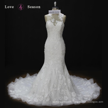 WX1556 slim fit wedding gown long lace train rhinestone suzhou wedding dress mermaid