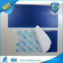 Abra la etiqueta engomada anulada del sello de la garantía de la VACA / sellos impermeables del papel