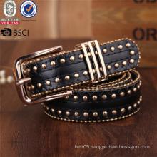 Fashion Manufacturer Women Alloy Black PU Leather Belt Riverts