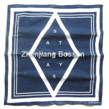 Logotipo personalizado impreso azul Un color impreso algodón Bandana de cabeza promocional