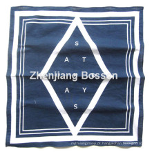 Customized Logo Impresso Blue One Color Impresso Cotton Promotional Head Bandana