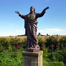 Grande statue de Jésus-Christ en bronze en méditation