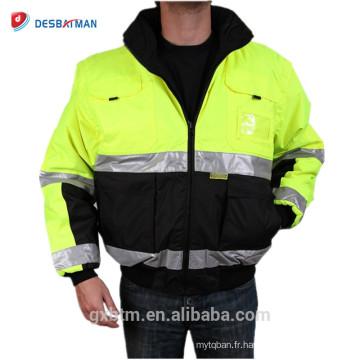 ANSI Classe 3 Rflective Haute Visibilité Hiver Veste De Sécurité Vêtements de Travail En Gros Salut À Capuche Vêtements De Travail