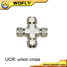 hydrogen gas welded dual tube ferrule 4 four way cross tee pipe fitting