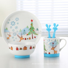 set of 5 ceramic kids breakfast set with non-slip silicone base