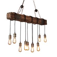 Natural wood beaded chandelier industrial vintage decoration lighting pendant lamp
