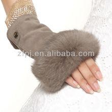 Bestes verkaufendes helles tan Kaninchenpelz Veloursleder fingerless Handschuh