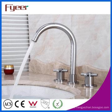 Fyeer Goose Neck - Grifo para lavabo, 3 orificios, para baño, ancho
