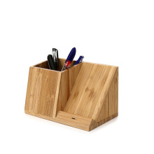 Customized desktop 10w pen holder box fast charging stand 15w 3 in 1 bamboo wireless charger