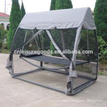 Cama da cadeira do balanço do metal ao ar livre com mosquiteiro de dossel