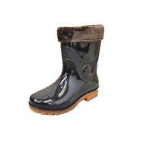 Fur lining short PVC gumboots waterproof men rain gumboots man rubber shoes