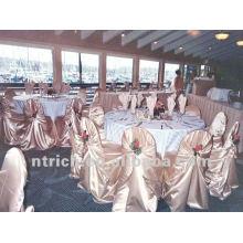 tampa da cadeira de cetim ornamentado para casamentos e banquetes