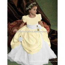 Neugelb und weiß mit Schärpe und handgemachte Blume flowergirl Kleider Mädchen Kleider 1005