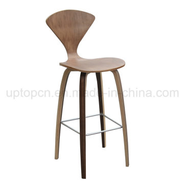 Antique Wood Color Four Legs Bent Plywood Bar Chair (SP-BC462)