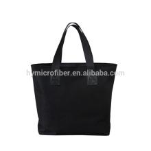 Saco de compras impermeável 100% poliéster preto com logotipo próprio