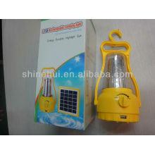Fonte verde Com alça e cabide levou lanterna camping recarregável solar camping lanterna