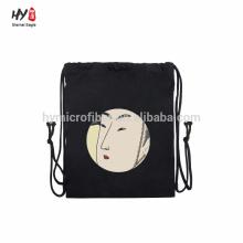 Saco de mochila de lona nova design preto
