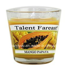 Vela perfumada de soya de mango y papaya en vidrio