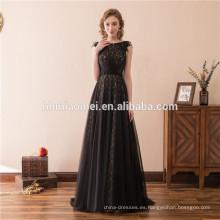 Vestido de noche negro de Suzhou 2018 vestido de fiesta de encaje largo con cuentas gruesas