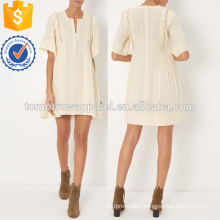 Ecru Cotton Split V Neckline Mini Dress OEM/ODM Manufacture Wholesale Fashion Women Apparel (TA7112D)