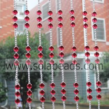 Best Quality for String Curtains With Beads,Beaded Garland Strands,Wedding Beaded Garland Supplier Warm 22MM&8MM  Wire Acrylic Crystal Bead Garland Trim export to Puerto Rico Supplier