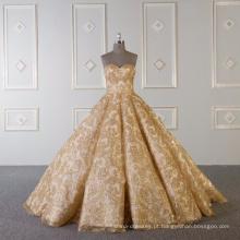 Vestido de noiva de ouro brilhante vestido de noiva sem alças 2018 com cauda de 60cm