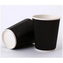 Taza de café caliente promocional de la pared doble, taza de té al por mayor de encargo de la taza acanalada