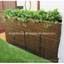 Прямоугольник Раттан Патио Открытый садовый цветочный горшок с обувным шкафом