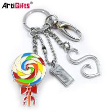 Fabricant de chaîne porte-clés Odm Custom Souple en métal émail Keychain Lollipop