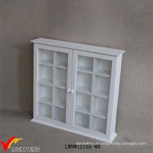 Branco Vintage pequeno 2 Porta de vidro Antigo Armário de parede