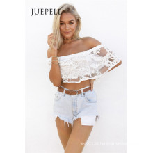 Piage Folho Lace Mulheres Crop Top