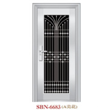 Puerta de acero inoxidable Puerta de metal Puerta de entrada de vidrio templado SS304 (SBN-6683)
