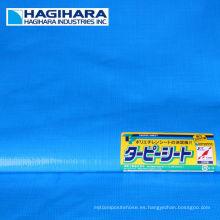 Durable # 2000, # 2500, # 3000 tipo de rollo de lona PE. Fabricado por Hagihara Industries. Hecho en Japón (tela de encerado azul)