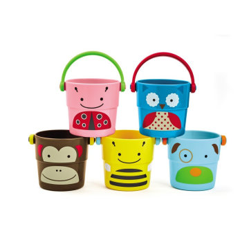 wholesale summer plastic baby beach toy sand bucket with 2 IN 1