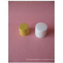Capuchon à vis côtelé blanc 20 mm sans bouteille en plastique
