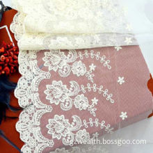 New fashion cotton lace fabric, embroidery designs with mesh for wedding dress