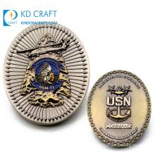 Personalized Custom Design Metal Embossed 3D Antique Plating Air Force Fighter Usn Logo Enamel Navy Oval Challenge Coin