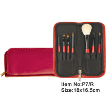 7pcs black plastic handle animal/nylon hair makeup brush tool set with Burgundy zipper case