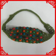 Las mujeres de moda encaje tejido diadema cuentas tejido elástico del pelo Hairband accesorios