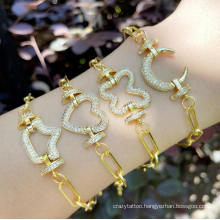 Simple HIPS Hops Jewelry Heavy Metal Thick Chunky Chain Gold Plated Punk Buckle Link Toggle Clasp Bracelet