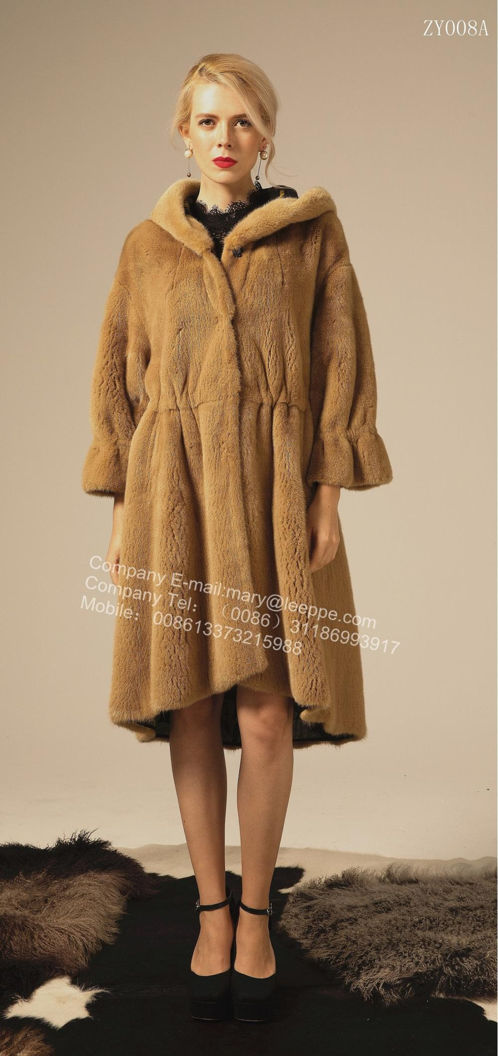 Reversible Hooded Mink Coat