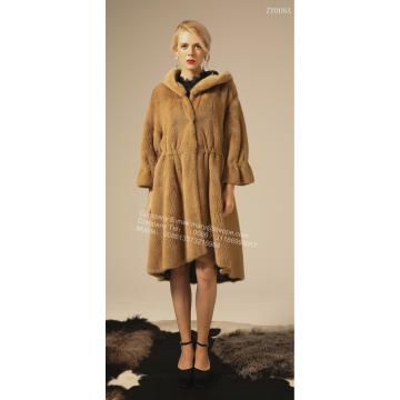 Vinter Reversible Women Lång Kopenhagen Mink Coat