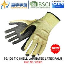 7g / 10g T / C ламинированные латексные ладонные перчатки безопасности для рук (S1301) с CE, En388, En420 для строительных перчаток