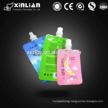biodegradeable plastic stand up liquid bag with spout