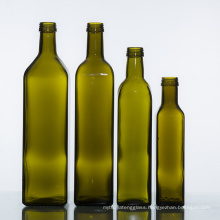 Empty High quality screw top 750ml dark green square olive oil glass bottle wholesale