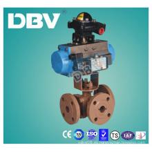 Actuador neumático de acero al carbono Wcb V tipo Válvulas de bola en T