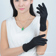 Black Warm Winter Ladies Wool Gloves with Wool Lining